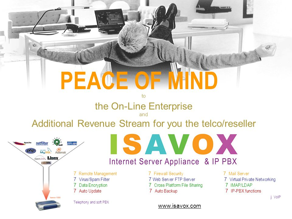 PEACE OF MIND to the On-Line Enterprise and Additional Revenue Stream for you the telco/reseller 7 Remote Management 7 Firewall Security 7 Mail Server 7 Virus/Spam Filter 7 Web Server FTP Server 7 Virtual Private Networking 7 Data Encryption 7 Cross Platform File Sharing 7 IMAP/LDAP 7 Auto Update 7 Auto Backup 7 IP-PBX functions j VoIP Telephony and soft PBX www.isavox.com