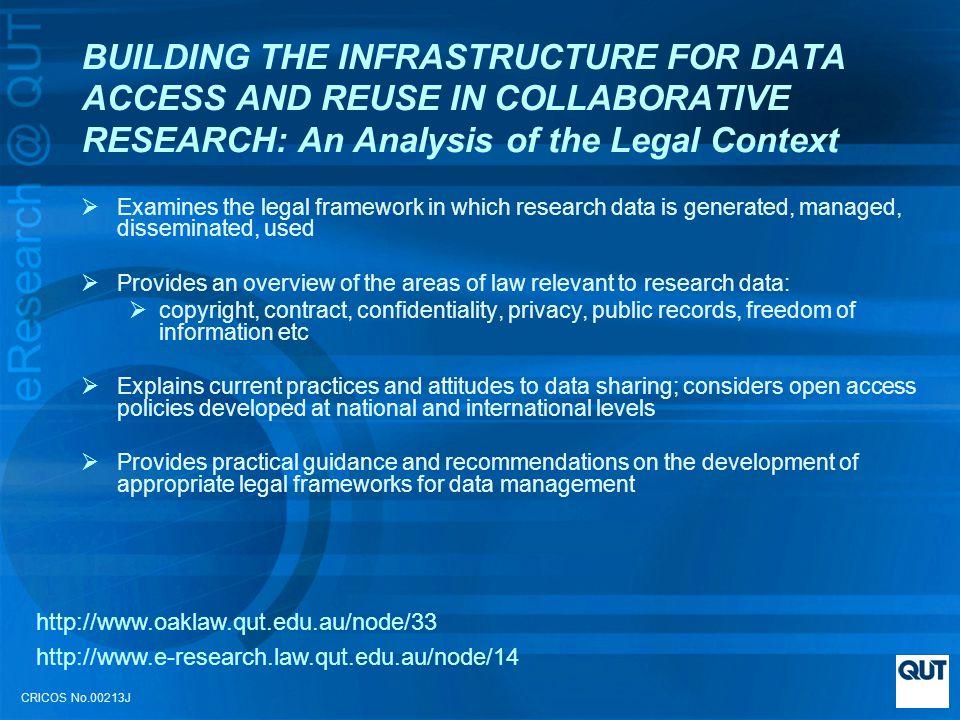CRICOS No.00213J Chapter 4 – Current Practices and Attitudes to Data Sharing Surveys of researchers attitudes - APSR Australian eResearch Sustainability Survey NCRIS Platforms for Collaboration Data Management Survey QUT e-Research Survey (report forthcoming) http://www.oaklaw.qut.edu.au/node/33 http://www.e-research.law.qut.edu.au/node/14