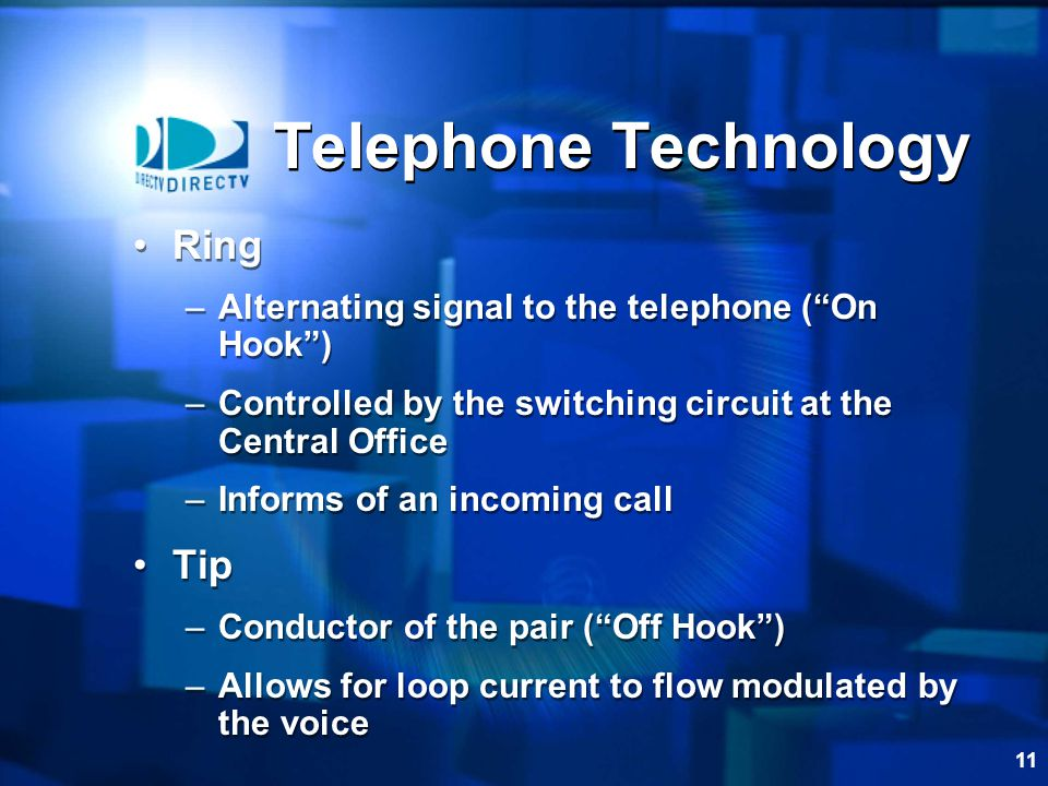 11 Telephone Technology Ring –Alternating signal to the telephone (On Hook) –Controlled by the switching circuit at the Central Office –Informs of an incoming call Tip –Conductor of the pair (Off Hook) –Allows for loop current to flow modulated by the voice Ring –Alternating signal to the telephone (On Hook) –Controlled by the switching circuit at the Central Office –Informs of an incoming call Tip –Conductor of the pair (Off Hook) –Allows for loop current to flow modulated by the voice
