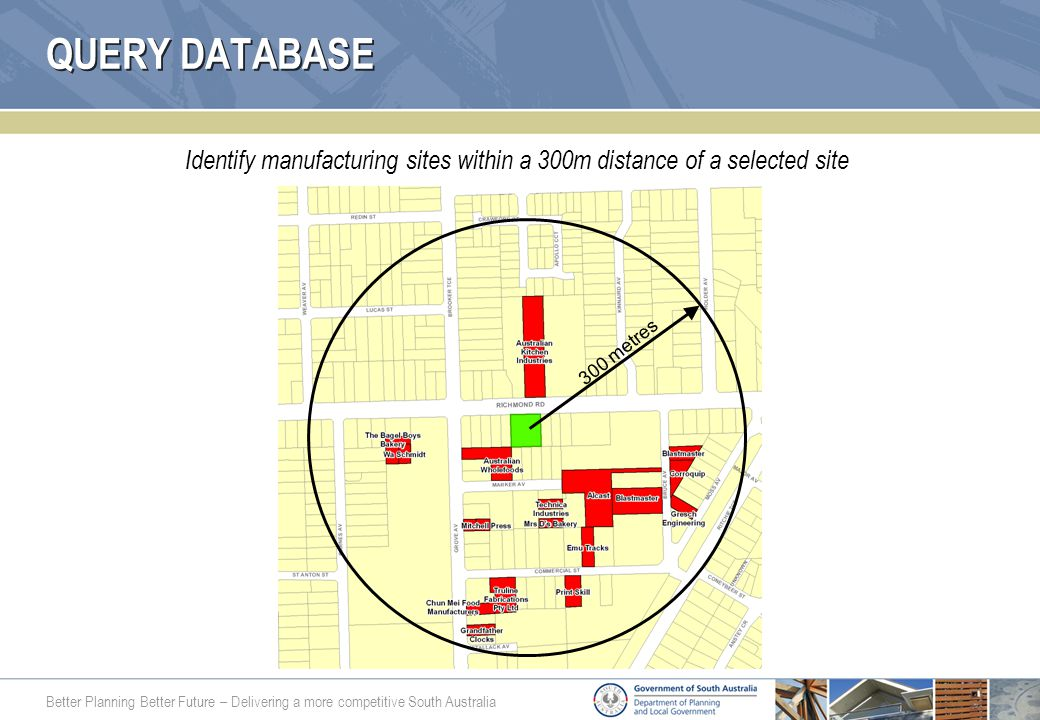 Better Planning Better Future – Delivering a more competitive South Australia QUERY DATABASE Identify manufacturing sites within a 300m distance of a