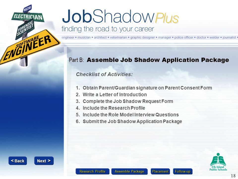 Research Profile Research Profile Assemble Package Assemble Package Placement Follow-up Next > Next > < Back < Back 18 Part B: Assemble Job Shadow App