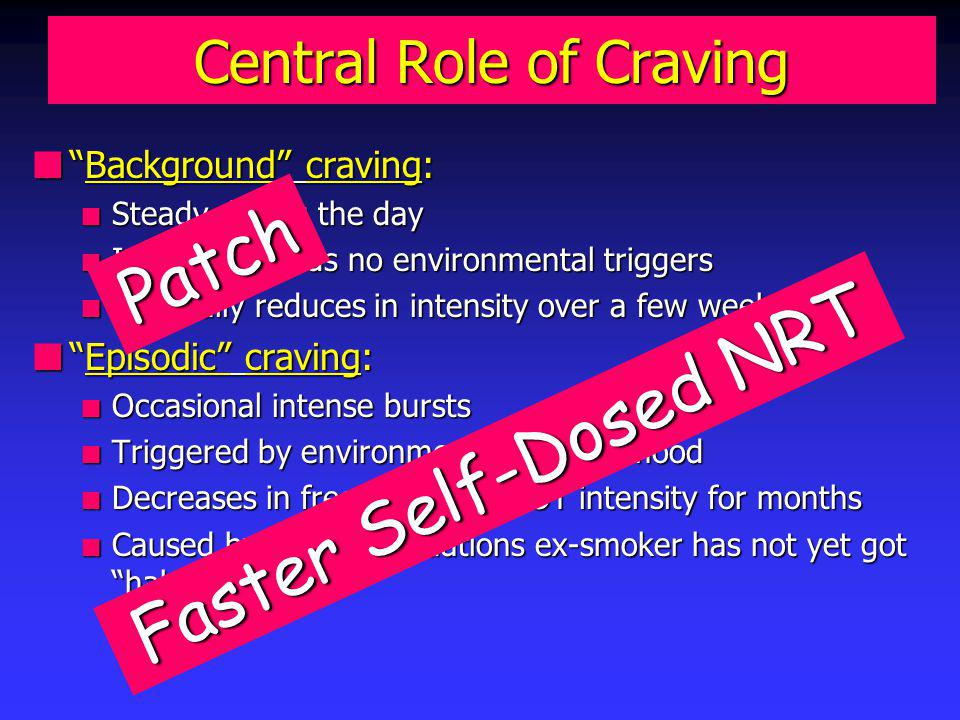 Central Role of Craving nBackground craving: n Steady during the day n Internal - needs no environmental triggers n Gradually reduces in intensity over a few weeks nEpisodic craving: n Occasional intense bursts n Triggered by environmental cues or mood n Decreases in frequency but NOT intensity for months n Caused by being in situations ex-smoker has not yet got habituated to Patch Faster Self-Dosed NRT