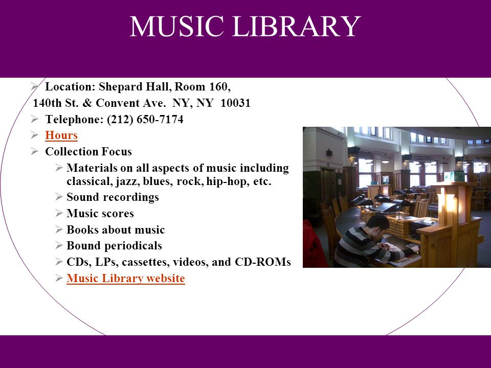 ART VISUAL RESOURCES LIBRARY Location: Compton/Goethals Hall, Room 245A 140th St.