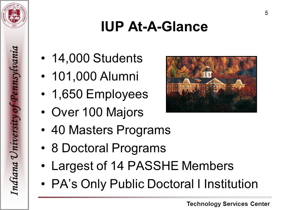 Indiana University of Pennsylvania Technology Services Center 6 IUP Technology Organizational Structure Academic Affairs Division Administration and Technology Technology Services Center................www.iup.edu/tsc Academic Technology Services.......www.iup.edu/ats Council of Deans College Technology Managers …......www.iup.edu/ats Instructional Design Center....................www.iup.edu/idc