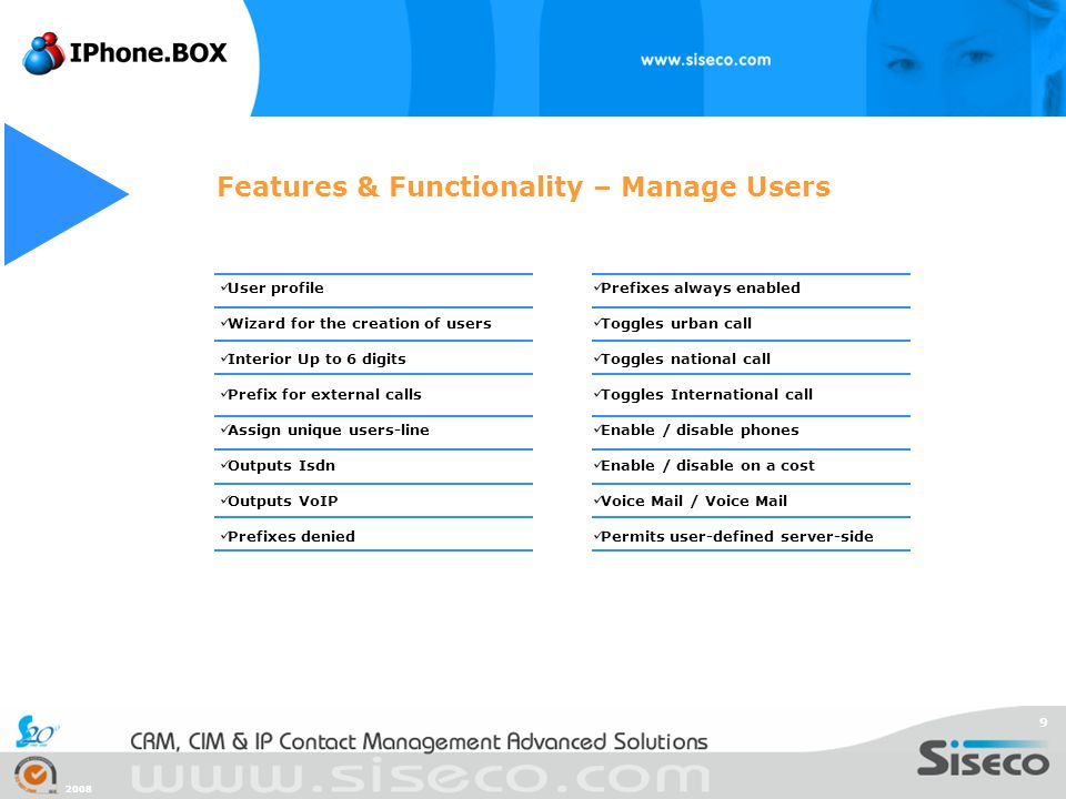 2008 9 Features & Functionality – Manage Users User profile Wizard for the creation of users Interior Up to 6 digits Prefix for external calls Assign