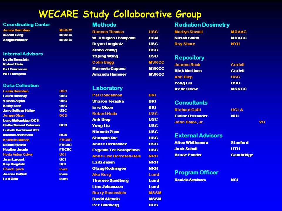WECARE Study Collaborative Group Coordinating Center Jonine Bernstein MSKCC Xiaolin Liang MSKCC Abigail Wolitzer MSKCC Internal Advisors Leslie Bernst