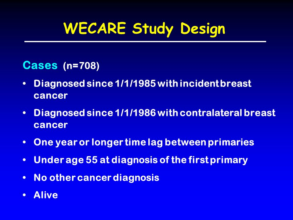 WECARE Study Design Cases (n=708) Diagnosed since 1/1/1985 with incident breast cancer Diagnosed since 1/1/1986 with contralateral breast cancer One year or longer time lag between primaries Under age 55 at diagnosis of the first primary No other cancer diagnosis Alive