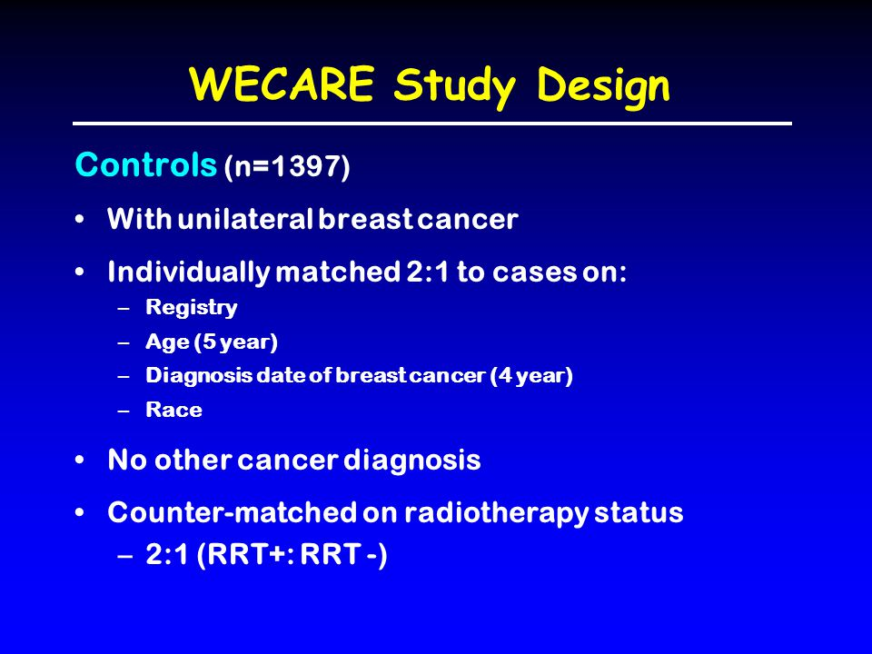 WECARE Study Design Controls (n=1397) With unilateral breast cancer Individually matched 2:1 to cases on: –Registry –Age (5 year) –Diagnosis date of b