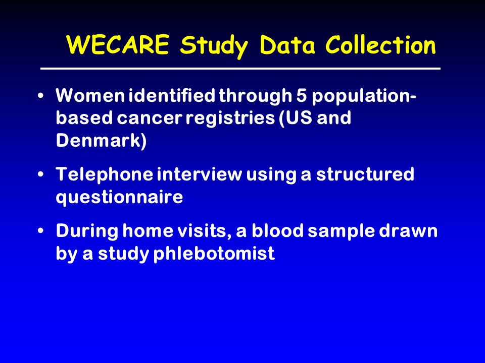 WECARE Study Data Collection Women identified through 5 population- based cancer registries (US and Denmark) Telephone interview using a structured questionnaire During home visits, a blood sample drawn by a study phlebotomist