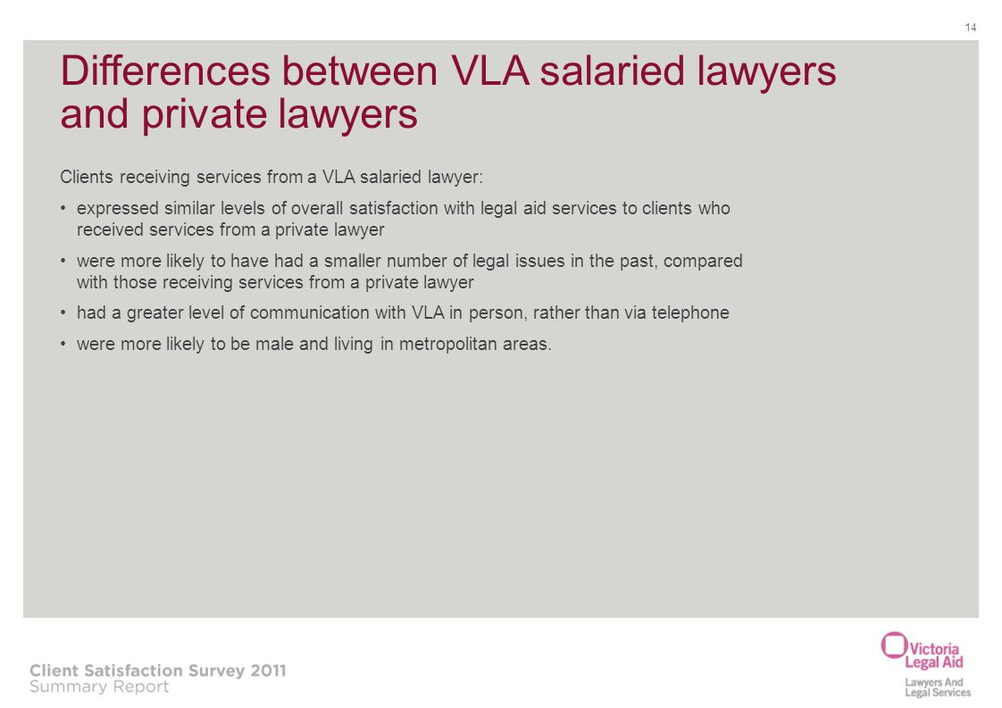 Differences between VLA salaried lawyers and private lawyers Clients receiving services from a VLA salaried lawyer: expressed similar levels of overal