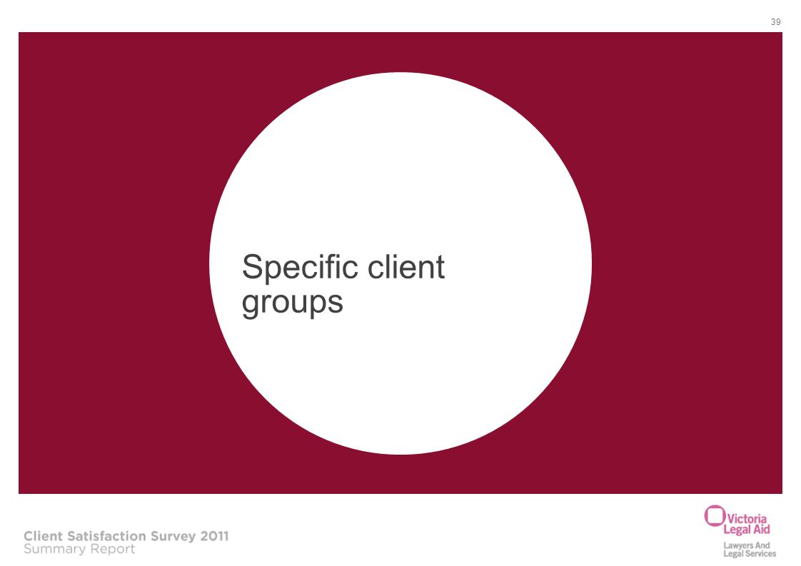 Specific client groups 39