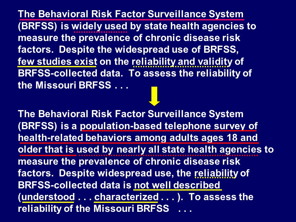 The Behavioral Risk Factor Surveillance System (BRFSS) is a population-based telephone survey of health-related behaviors among adults ages 18 and old