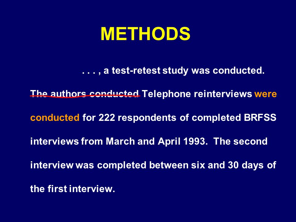 METHODS..., a test-retest study was conducted. The authors conducted Telephone reinterviews were conducted for 222 respondents of completed BRFSS inte