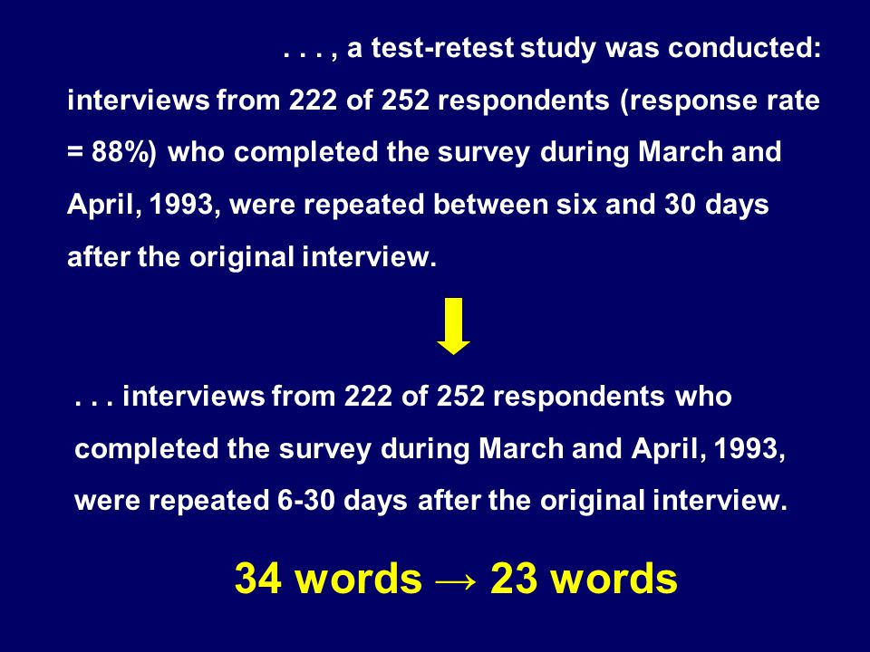 ..., a test-retest study was conducted: interviews from 222 of 252 respondents (response rate = 88%) who completed the survey during March and April,