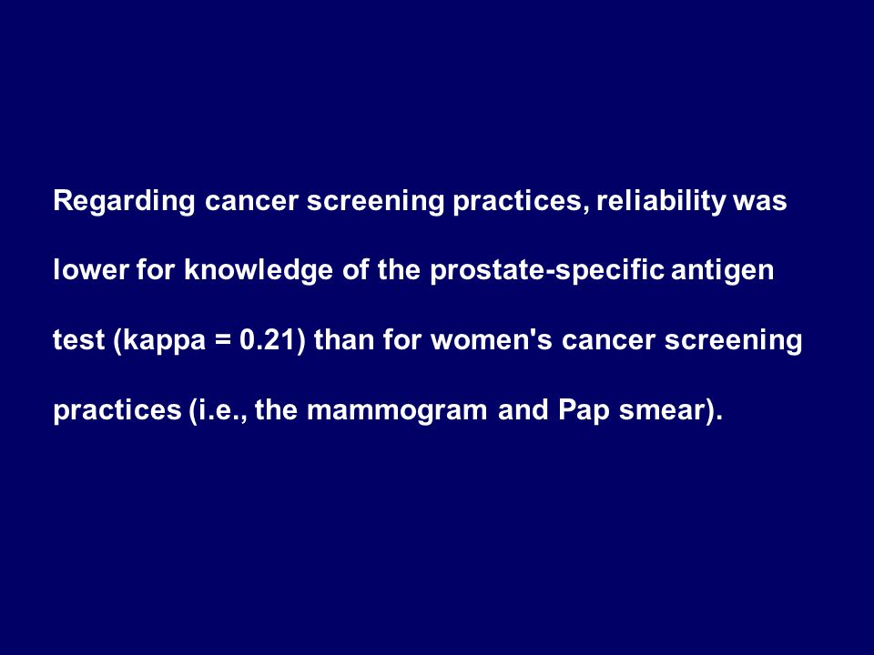 Regarding cancer screening practices, reliability was lower for knowledge of the prostate-specific antigen test (kappa = 0.21) than for women's cancer