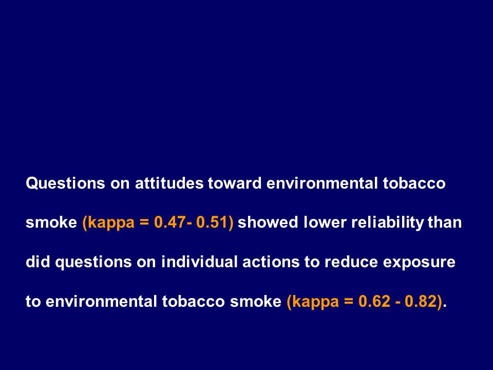 Questions on attitudes toward environmental tobacco smoke (kappa = 0.47- 0.51) showed lower reliability than did questions on individual actions to re