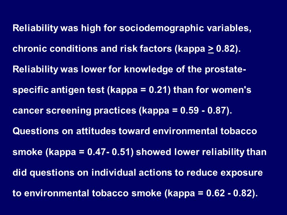 Reliability was high for sociodemographic variables, chronic conditions and risk factors (kappa > 0.82). Reliability was lower for knowledge of the pr