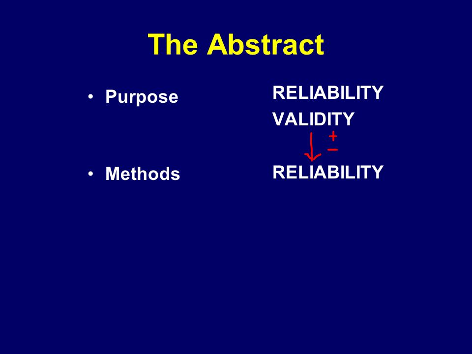 The Abstract Purpose Methods RELIABILITY VALIDITY RELIABILITY
