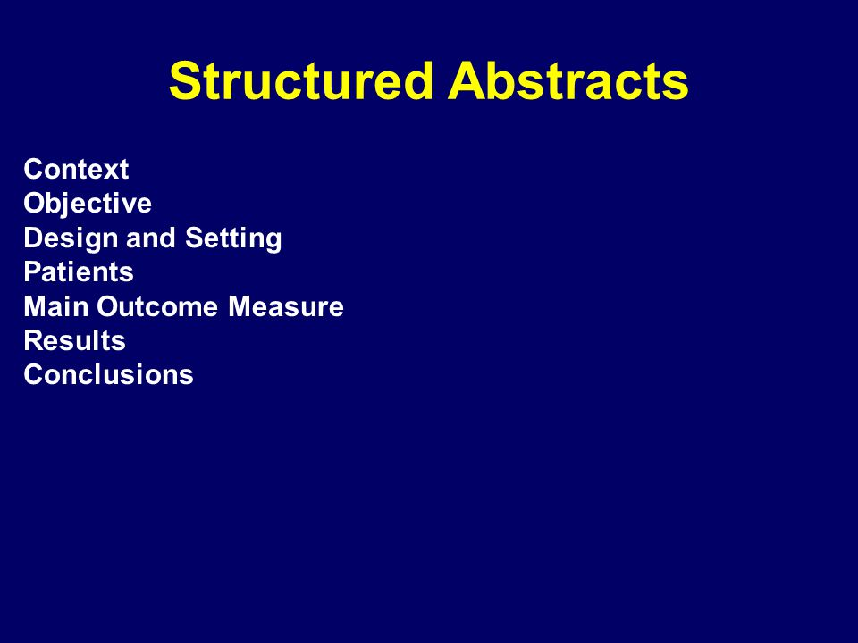 Context Objective Design and Setting Patients Main Outcome Measure Results Conclusions Background Methods Results Conclusions