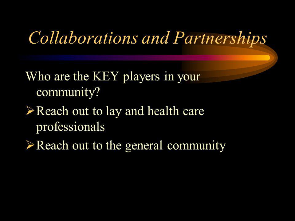 Collaborations and Partnerships Who are the KEY players in your community.