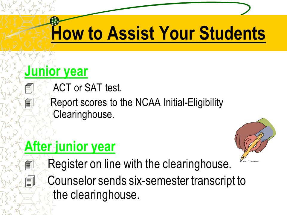 How to Assist Your Students Junior year 4ACT or SAT test.