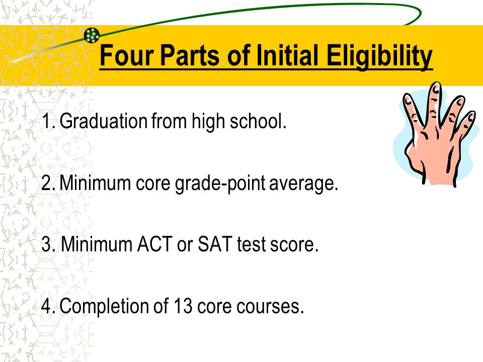 Four Parts of Initial Eligibility 1.Graduation from high school.