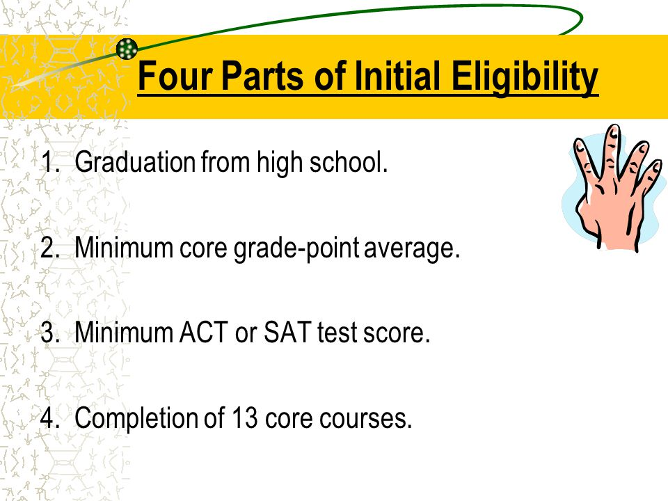 Four Parts of Initial Eligibility 1. Graduation from high school.