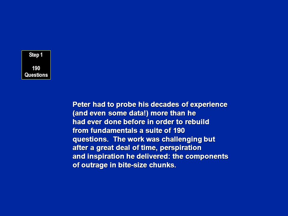 Peter had to probe his decades of experience (and even some data!) more than he had ever done before in order to rebuild from fundamentals a suite of 190 questions.