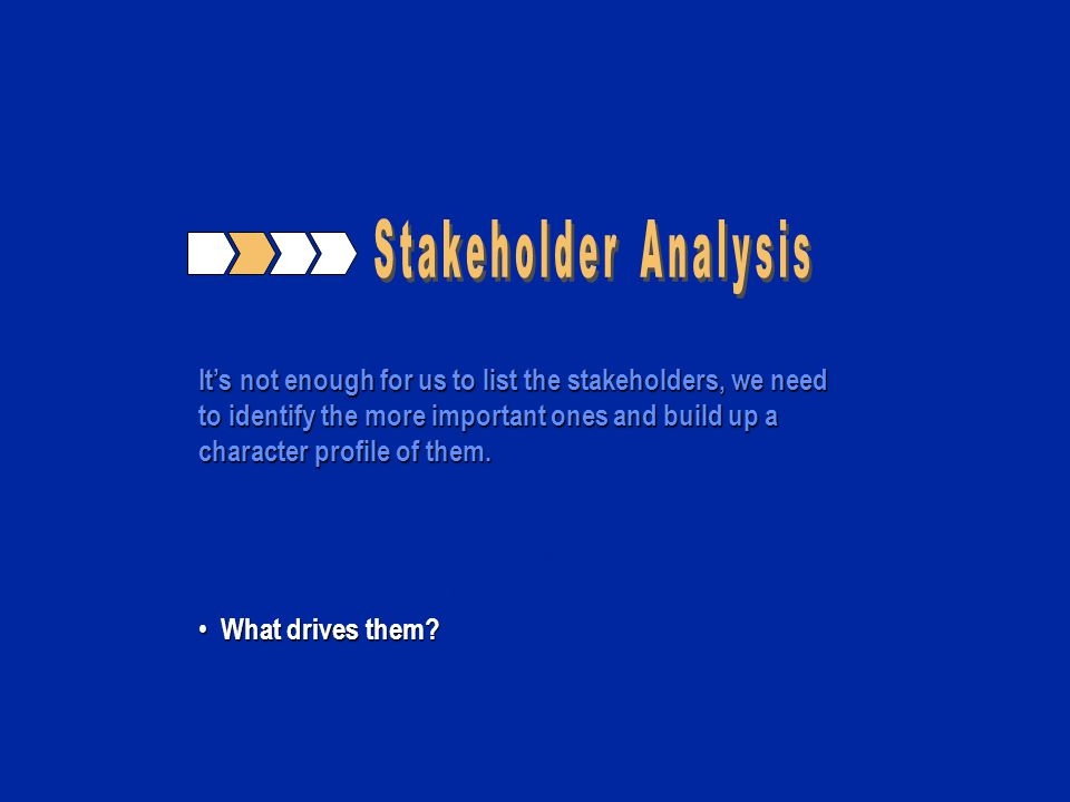Its not enough for us to list the stakeholders, we need to identify the more important ones and build up a character profile of them. How well do we k