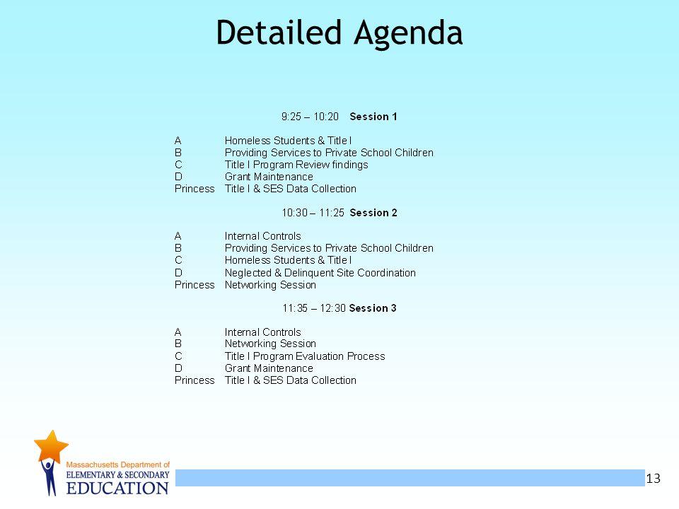 13 Detailed Agenda