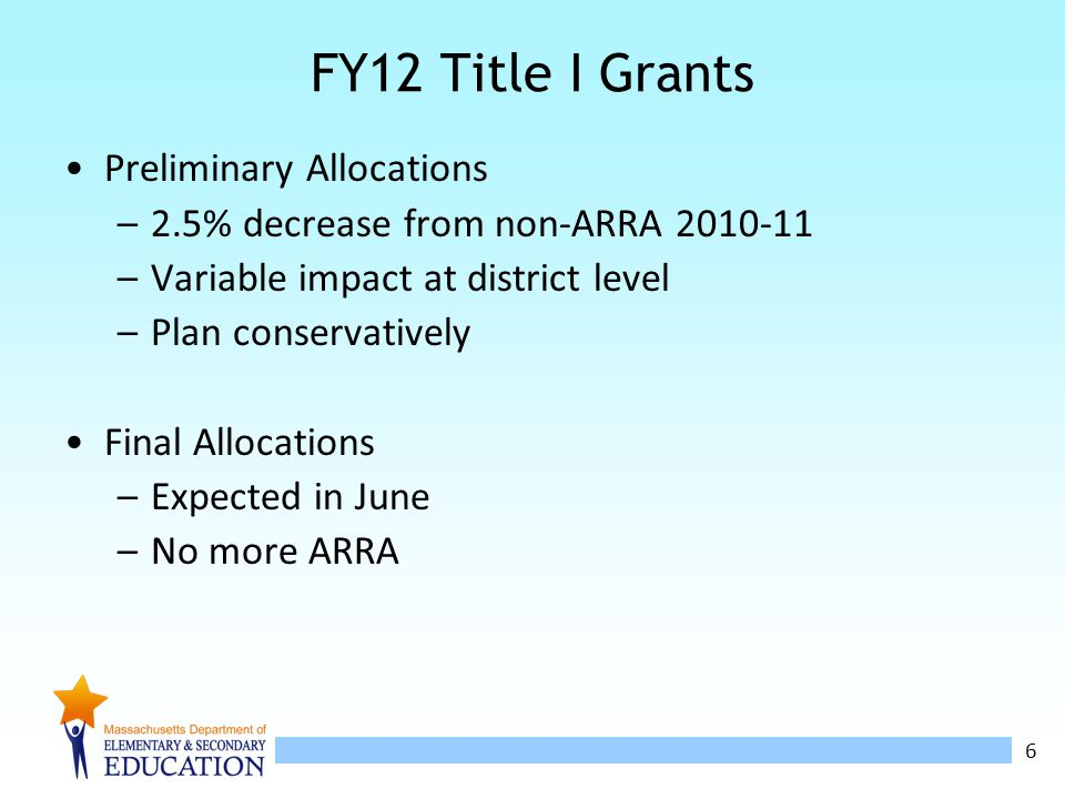 6 FY12 Title I Grants Preliminary Allocations –2.5% decrease from non-ARRA 2010-11 –Variable impact at district level –Plan conservatively Final Allocations –Expected in June –No more ARRA