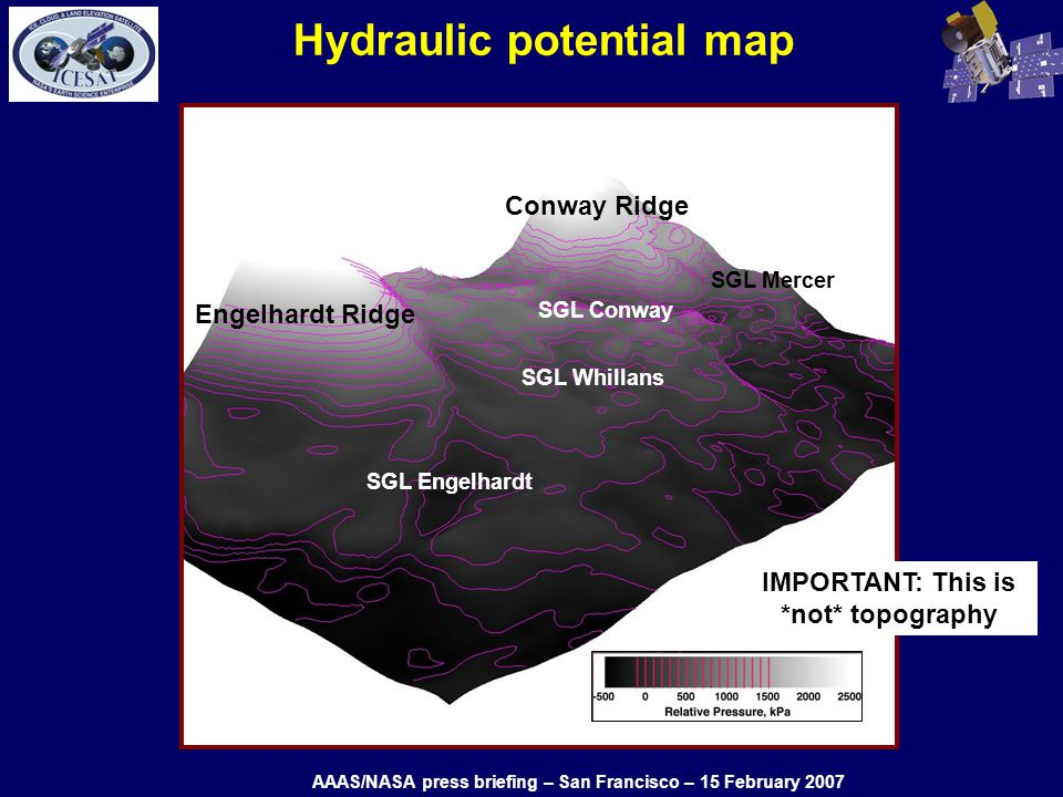 Hydraulic potential map Engelhardt Ridge Conway Ridge SGL Engelhardt SGL Conway SGL Whillans SGL Mercer IMPORTANT: This is *not* topography AAAS/NASA press briefing – San Francisco – 15 February 2007
