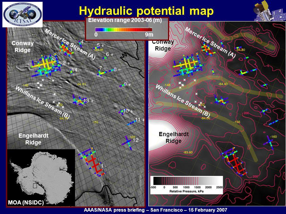 Hydraulic potential map Conway Ridge Engelhardt Ridge Conway Ridge Engelhardt Ridge Whillans Ice Stream (B) Mercer Ice Stream (A) Whillans Ice Stream (B) Mercer Ice Stream (A) Elevation range 2003-06 (m) 0 9m MOA (NSIDC) AAAS/NASA press briefing – San Francisco – 15 February 2007