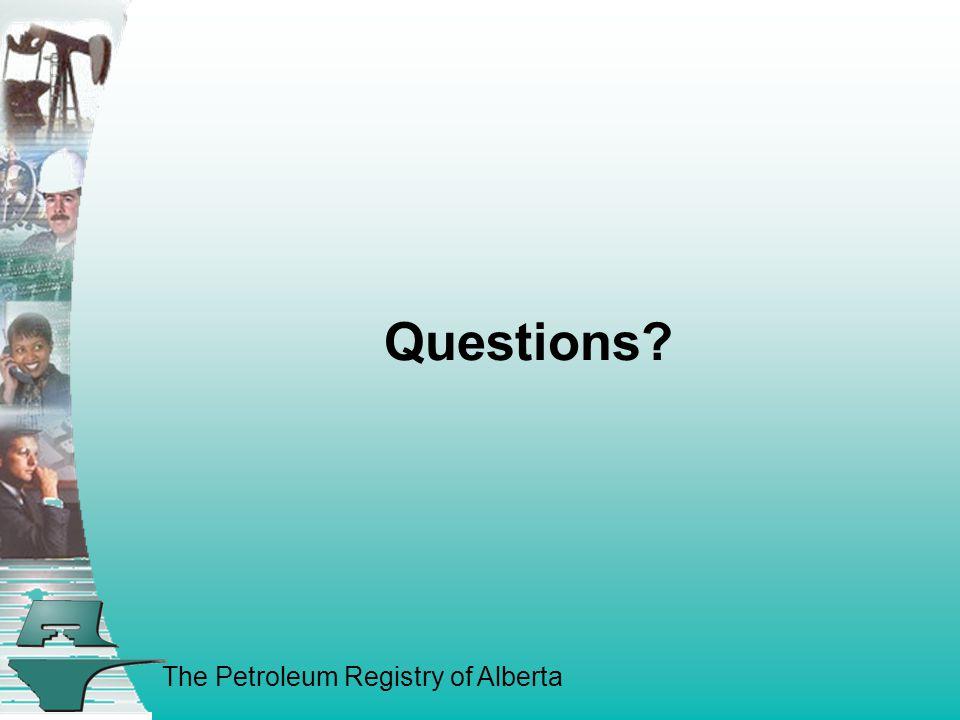 The Petroleum Registry of Alberta Questions