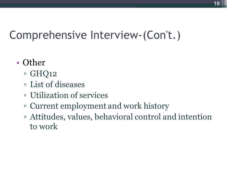 Comprehensive Interview-(Con't.) Other GHQ12 List of diseases Utilization of services Current employment and work history Attitudes, values, behaviora