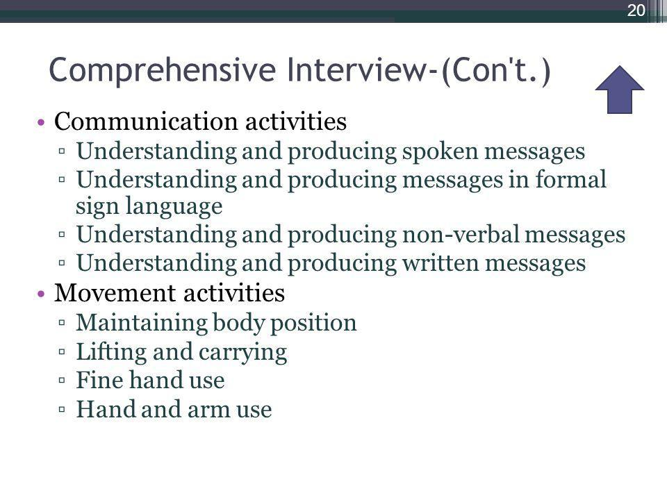 Comprehensive Interview-(Con t.) Communication activities Understanding and producing spoken messages Understanding and producing messages in formal sign language Understanding and producing non-verbal messages Understanding and producing written messages Movement activities Maintaining body position Lifting and carrying Fine hand use Hand and arm use 20
