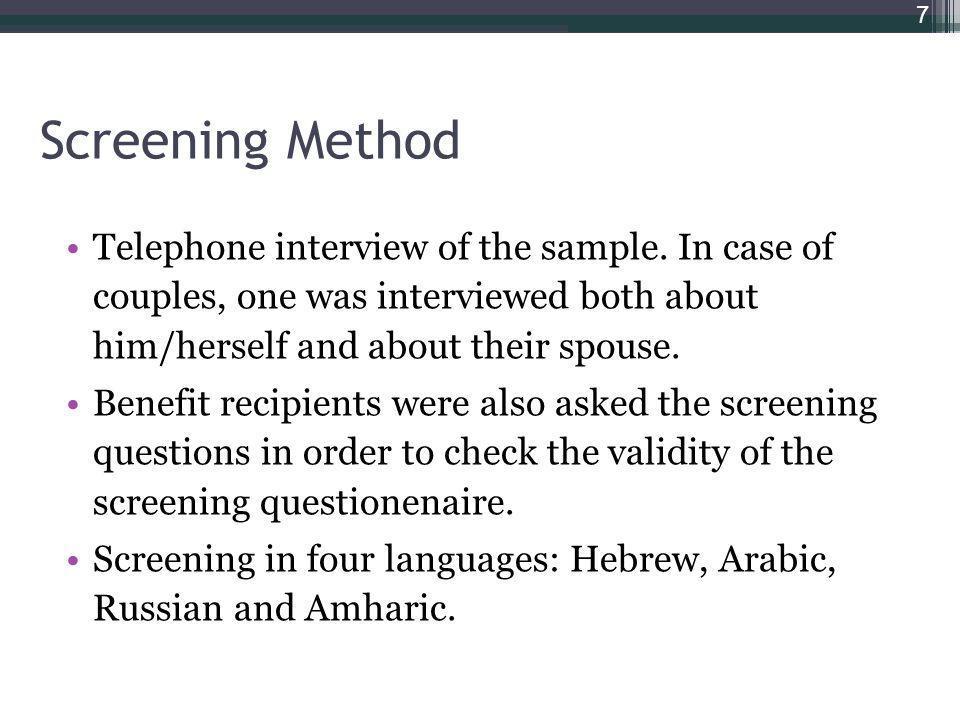 Screening Method Telephone interview of the sample.