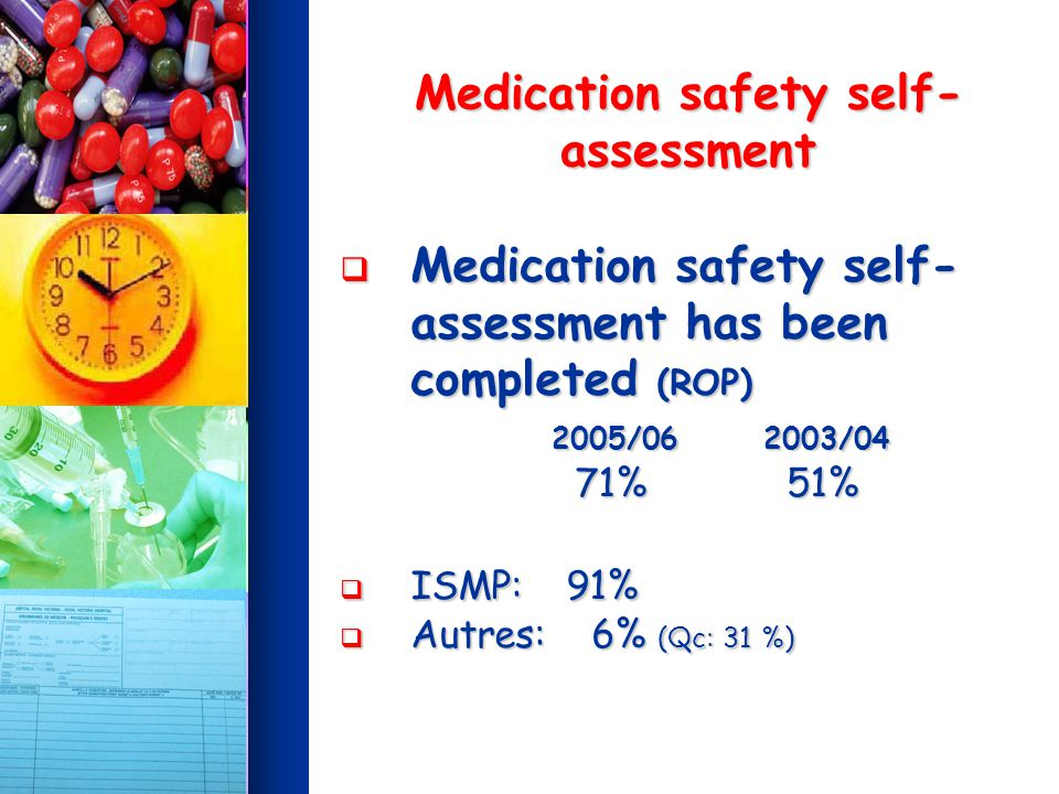 Medication safety self- assessment Medication safety self- assessment has been completed (ROP) 2005/06 2003/04 Medication safety self- assessment has been completed (ROP) 2005/06 2003/04 71% 51% 71% 51% ISMP: 91% ISMP: 91% Autres: 6% (Qc: 31 %) Autres: 6% (Qc: 31 %)