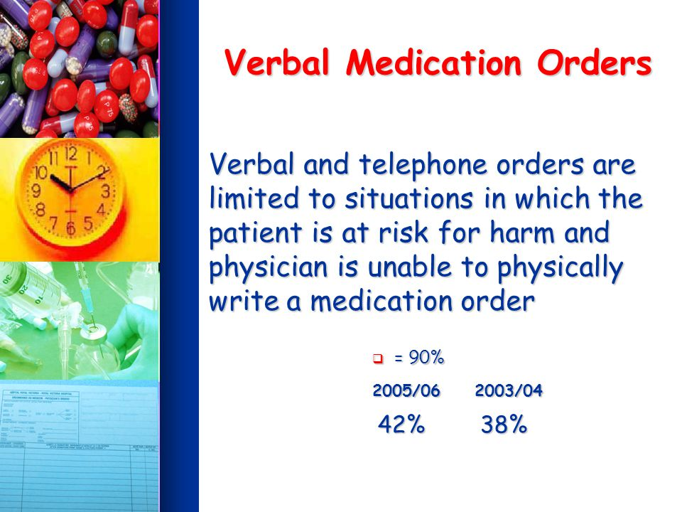 Verbal Medication Orders Verbal and telephone orders are limited to situations in which the patient is at risk for harm and physician is unable to physically write a medication order = 90% = 90% 2005/06 2003/04 2005/06 2003/04 42% 38% 42% 38%