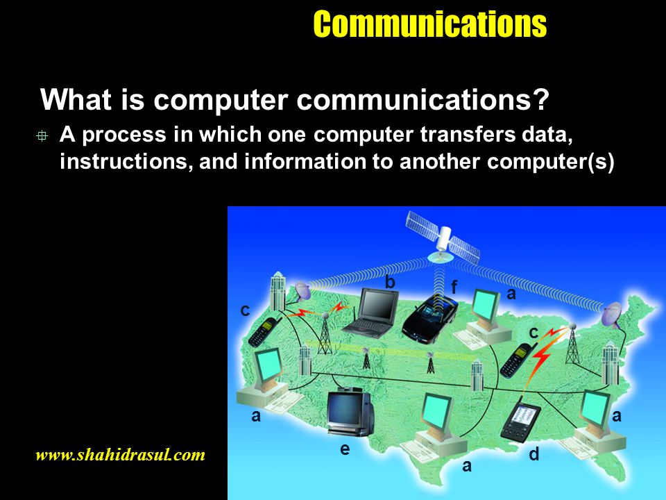 Communications What is computer communications? A process in which one computer transfers data, instructions, and information to another computer(s) a