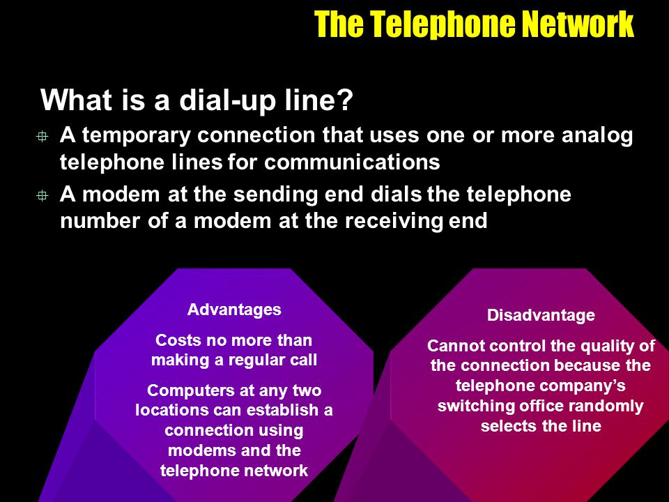 The Telephone Network What is a dial-up line? A temporary connection that uses one or more analog telephone lines for communications A modem at the se