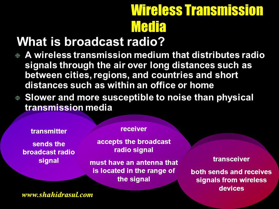 transmitter sends the broadcast radio signal Wireless Transmission Media What is broadcast radio? A wireless transmission medium that distributes radi