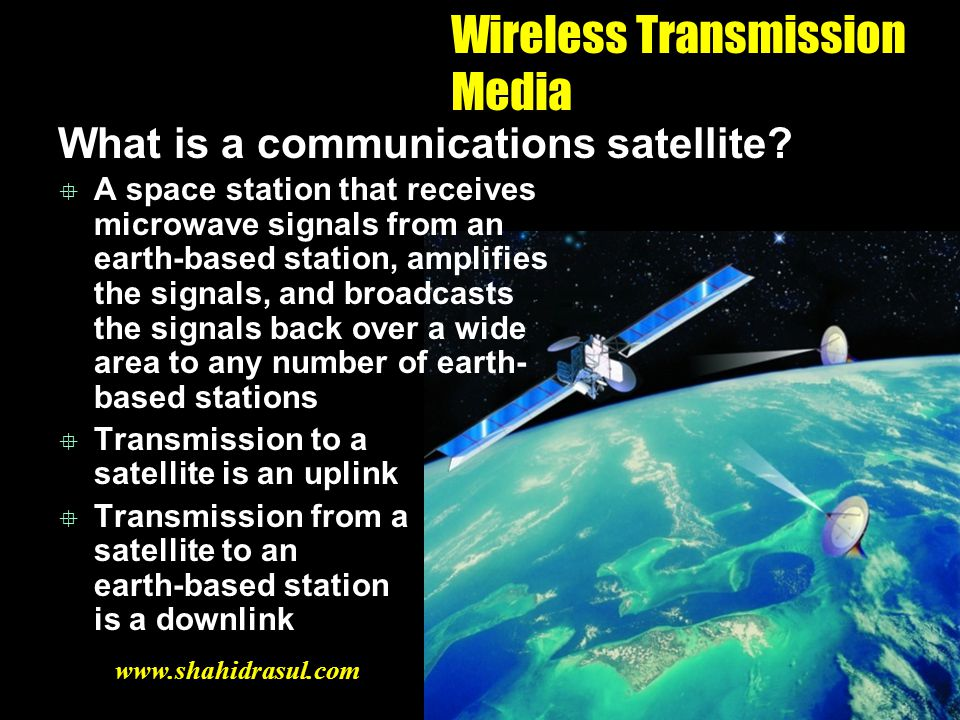 Wireless Transmission Media What is a communications satellite? A space station that receives microwave signals from an earth-based station, amplifies