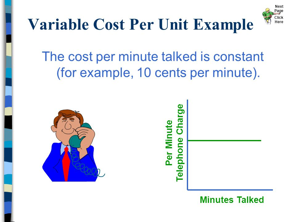 Variable Cost Per Unit Example Minutes Talked Per Minute Telephone Charge The cost per minute talked is constant (for example, 10 cents per minute). N