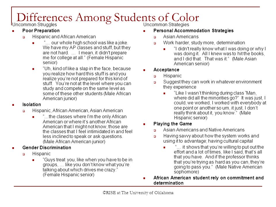 ©RISE at The University of Oklahoma Differences Among Students of Color Uncommon Struggles Poor Preparation Hispanic and African American … our whole high school was like a joke.