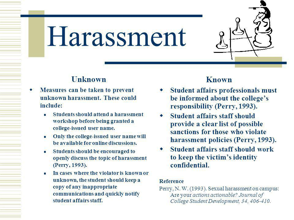 Harassment Unknown Measures can be taken to prevent unknown harassment.