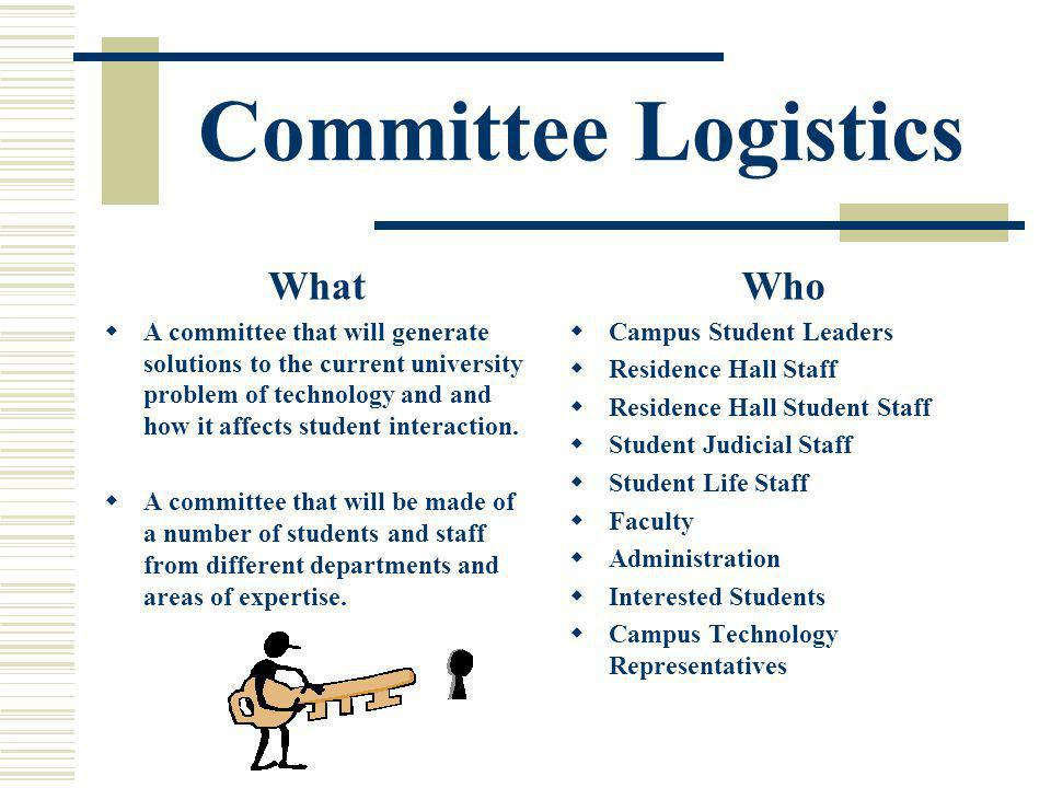 Committee Logistics What A committee that will generate solutions to the current university problem of technology and and how it affects student interaction.