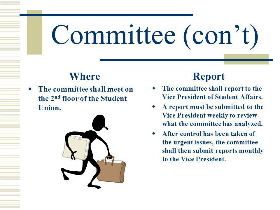 Committee (cont) Where The committee shall meet on the 2 nd floor of the Student Union.