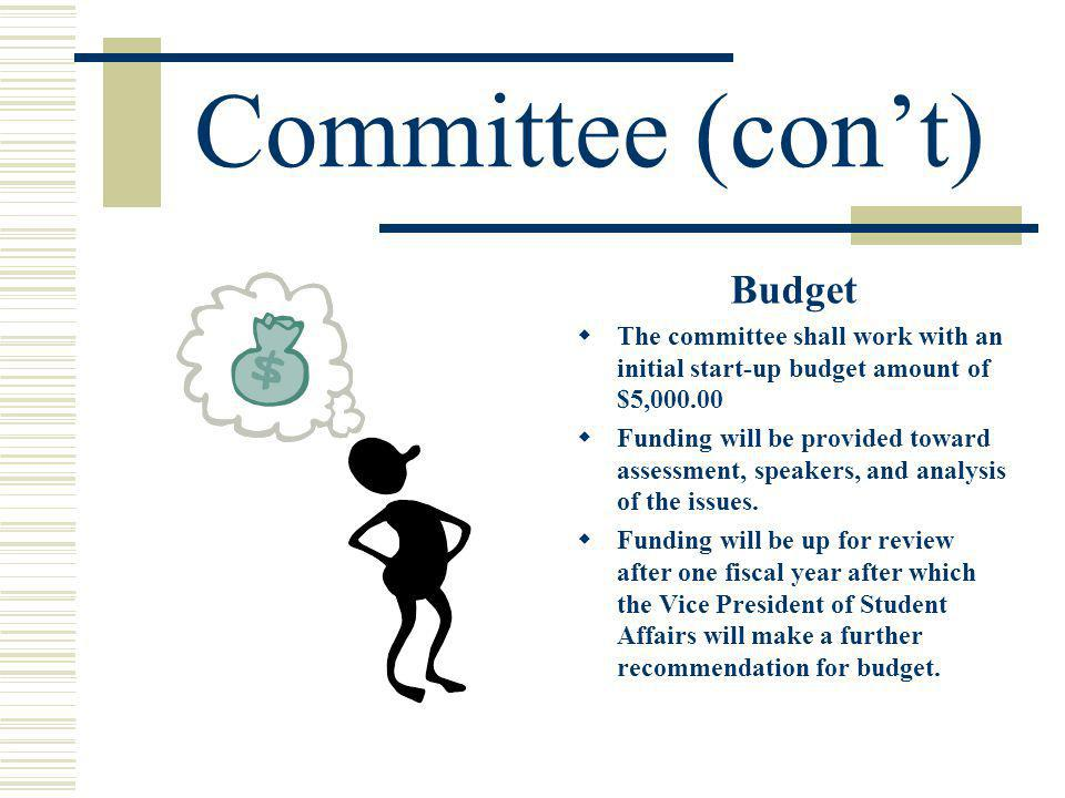 Committee (cont) Budget The committee shall work with an initial start-up budget amount of $5,000.00 Funding will be provided toward assessment, speakers, and analysis of the issues.