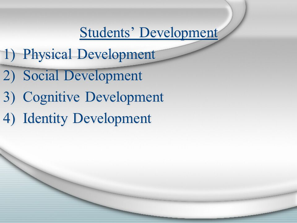 Students Development 1)Physical Development 2)Social Development 3)Cognitive Development 4)Identity Development Students Development 1)Physical Develo